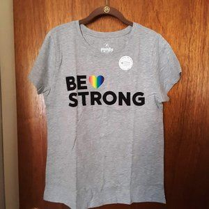 """""""Be Strong"""" Gray Rainbow Pride Graphic Tee"""